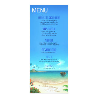 Exotic Beach Wedding Menu ask about names in sand 10 Cm X 24 Cm Invitation Card