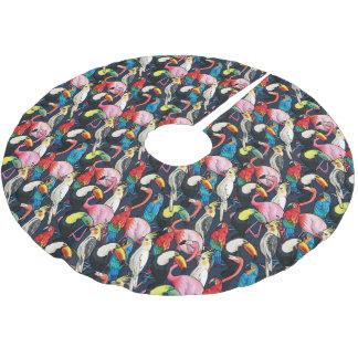 Exotic birds brushed polyester tree skirt