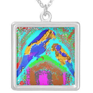 Exotic Birds:  Mommy and Baby Parrot Square Pendant Necklace