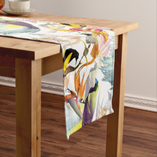 Exotic Birds of Paradise and Flowers Watercolor Short Table Runner