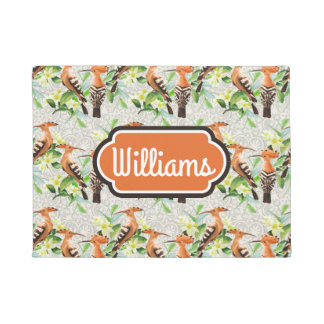 Exotic Birds On Lace | Add Your Name Doormat