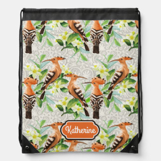 Exotic Birds On Lace | Add Your Name Drawstring Bag