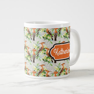 Exotic Birds On Lace | Add Your Name Large Coffee Mug