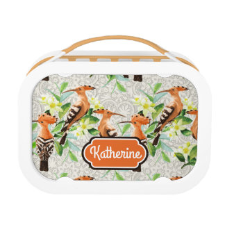Exotic Birds On Lace | Add Your Name Lunch Box