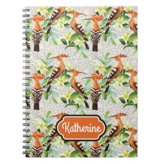 Exotic Birds On Lace | Add Your Name Notebooks
