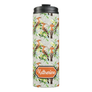 Exotic Birds On Lace | Add Your Name Thermal Tumbler