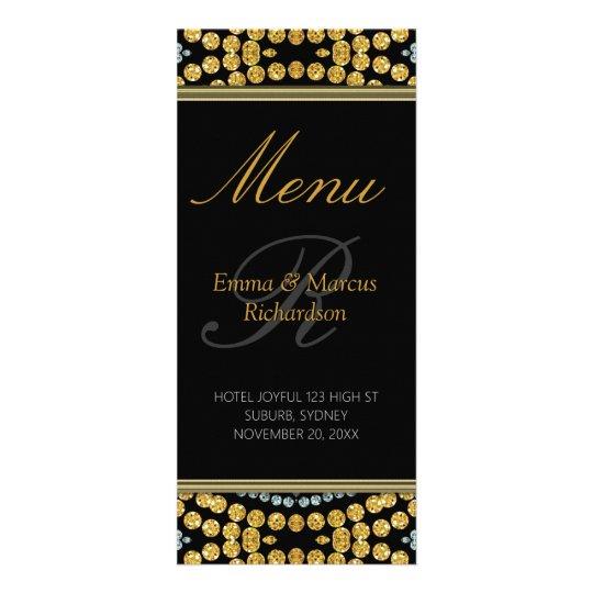 Exotic Black & Gold Sparkly Wedding Menu Card