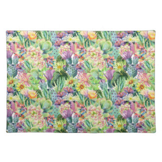 Exotic Blooming Watercolor Cacti Pattern Placemat