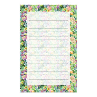 Exotic Blooming Watercolor Cacti Pattern Stationery