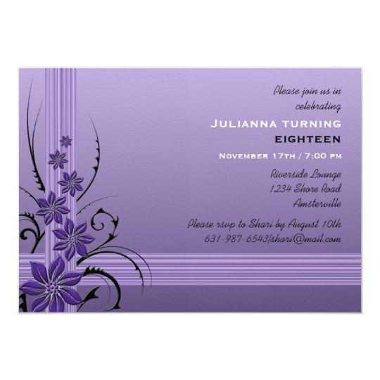 Exotic Blooms Lavender Invitation