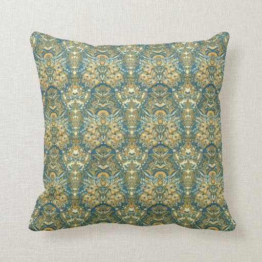 Exotic Blue and Yellow Damask Throw Pillow