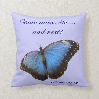 Exotic blue butterfly cushion