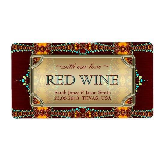 Exotic Bohemian Eastern Wedding Wine Labels