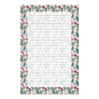 Exotic Boho Watercolor Cactus & Succulent Pattern Stationery