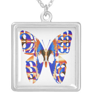 Exotic Butterfly Blue Square Pendant Necklace