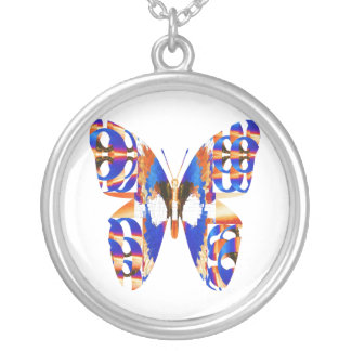 Exotic Butterfly Blue Round Pendant Necklace