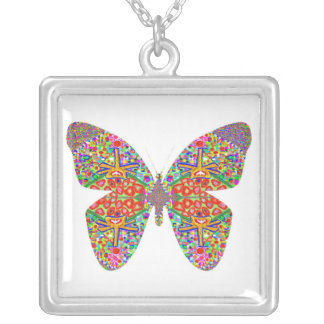 Exotic Butterfly Square Pendant Necklace
