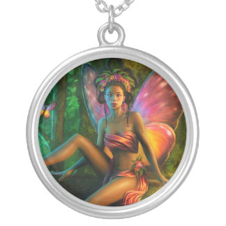 Exotic Butterfly Round Pendant Necklace