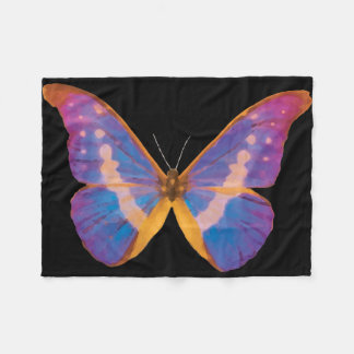 Exotic Butterfly Watercolor Fleece Blanket