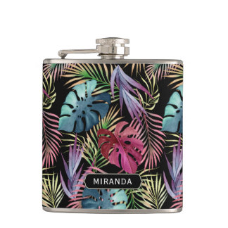 Exotic Colorful Jungle Pattern with Name Hip Flask