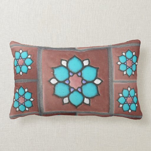 Exotic Copper and Aqua Flower Pattern Pillow