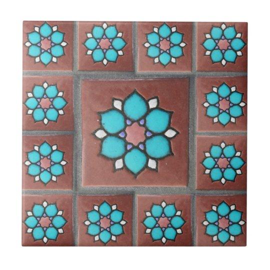 Exotic Copper & Aqua Flower Design Tile