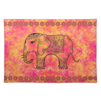 Exotic Eastern Elephant Tangle Doodle Pattern Placemat