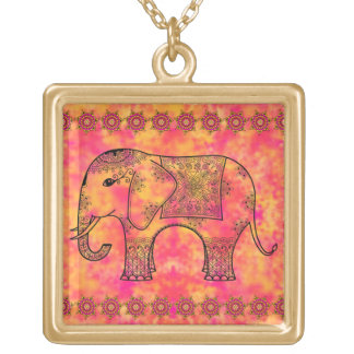 Exotic Eastern Elephant Tangle Doodle Pattern Square Pendant Necklace