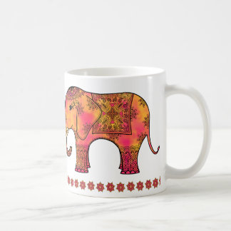 Exotic Eastern Indian Elephant Tangle Doodle Coffee Mug