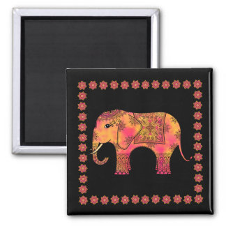 Exotic Eastern Indian Elephant Tangle Doodle Magnet