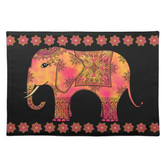 Exotic Eastern Indian Elephant Tangle Doodle Placemat