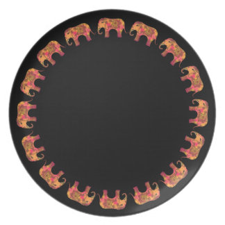 Exotic Eastern Indian Elephant Tangle Doodle Plate
