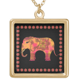Exotic Eastern Indian Elephant Tangle Doodle Square Pendant Necklace