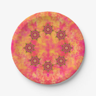 Exotic Eastern Influenced Mandala Flower Graphic Paper Plate