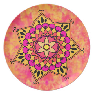 Exotic Eastern Influenced Mandala Flower Graphic Plate
