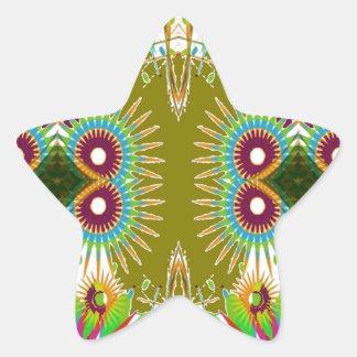 Exotic Elegant Graphic Flowers  Patterns GIFTS fun Star Sticker