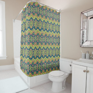 Exotic Ethnic Ikat Pattern on Blue Shower Curtain