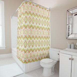 Exotic Ethnic Ikat Pattern On White Shower Curtain