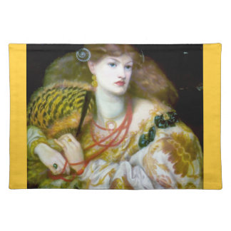 Exotic extravagant woman painting placemats