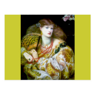 Exotic extravagant woman painting postcard