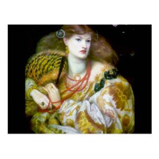 Exotic extravagant woman painting postcard