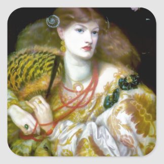 Exotic extravagant woman painting square sticker