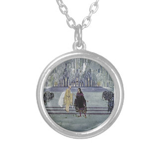 Exotic Fairy Tale Prince and Princess Illustration Round Pendant Necklace