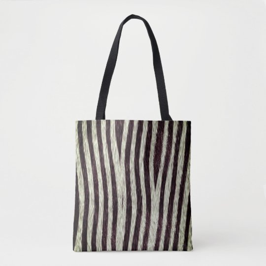 Exotic Faux Fur Zebra Stripes Animal Print Tote