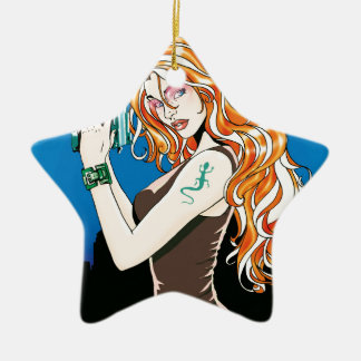 Exotic Female Model With Orange Hair Holding a Gun Christmas Ornament
