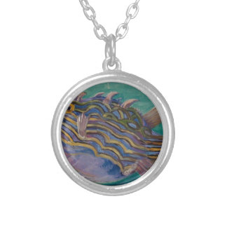 Exotic Fish by Marianne North Round Pendant Necklace