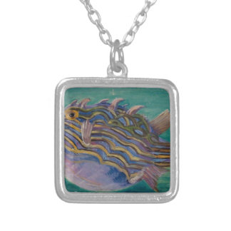 Exotic Fish by Marianne North Square Pendant Necklace