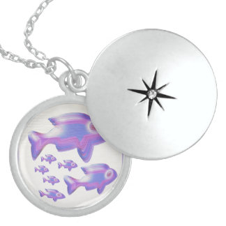 Exotic Fish FAMILY Round Locket Necklace