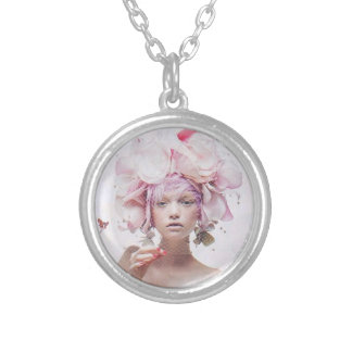 Exotic Floral Headpiece Round Pendant Necklace