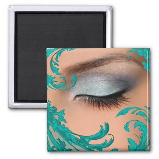 """Exotic Floral"" - teal by Cheryl Daniels Square Magnet"